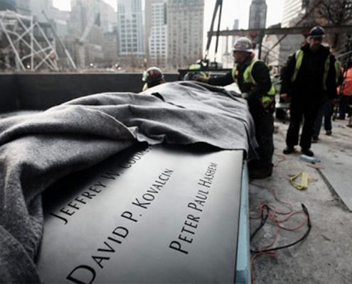 National September 11 Memorial, North and South Pool Bronze Name Parapets. Photo Credit: New York Post