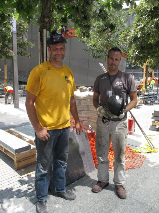Construction workers Chris Powers and Kurt Wulfmeyer at the 9/11 Memorial site. Joao Costa/Yahoo! News