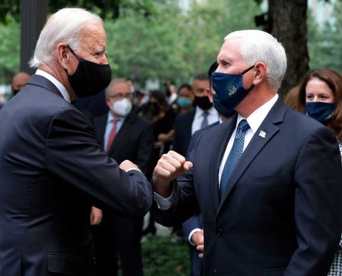 Getty Image: Biden and Pence greet each other in New York City.